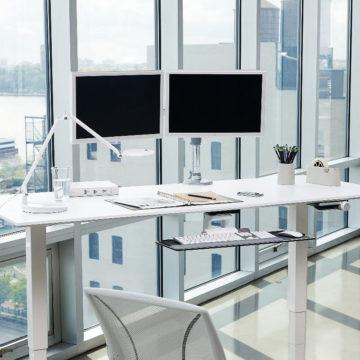Ergonomic desk with monitor stand