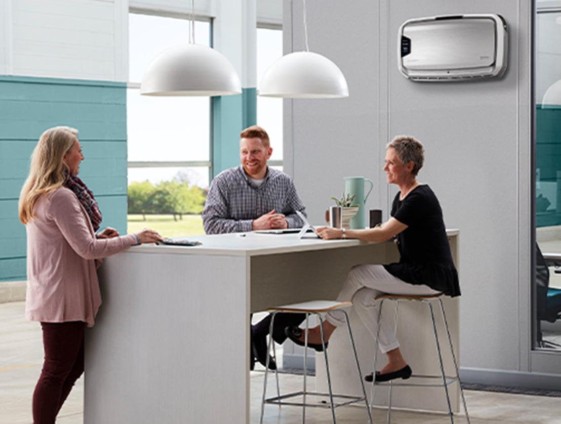 fellowes aeramax professional air purifier in breakroom